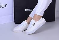 Женские кеды Fashion белые с белой подошвой , фото 1