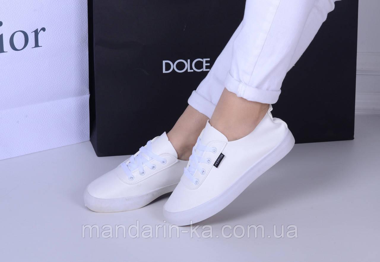 Женские кеды Fashion белые с белой подошвой