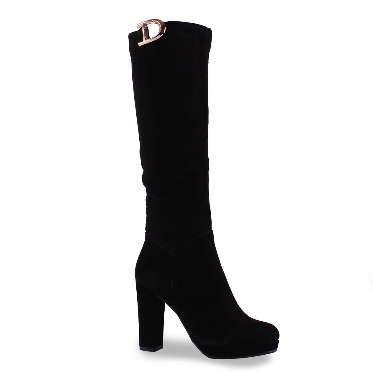 ee1c42d4f Замшевые женские сапоги Reuchll (зимние, на каблуке, красивая буква,  теплые, удобные, черные)