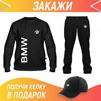 Мужской спортивный костюм с принтом: Свитшот, Штаны, Бейсболка Костюм BMW (66410,66403,66403)
