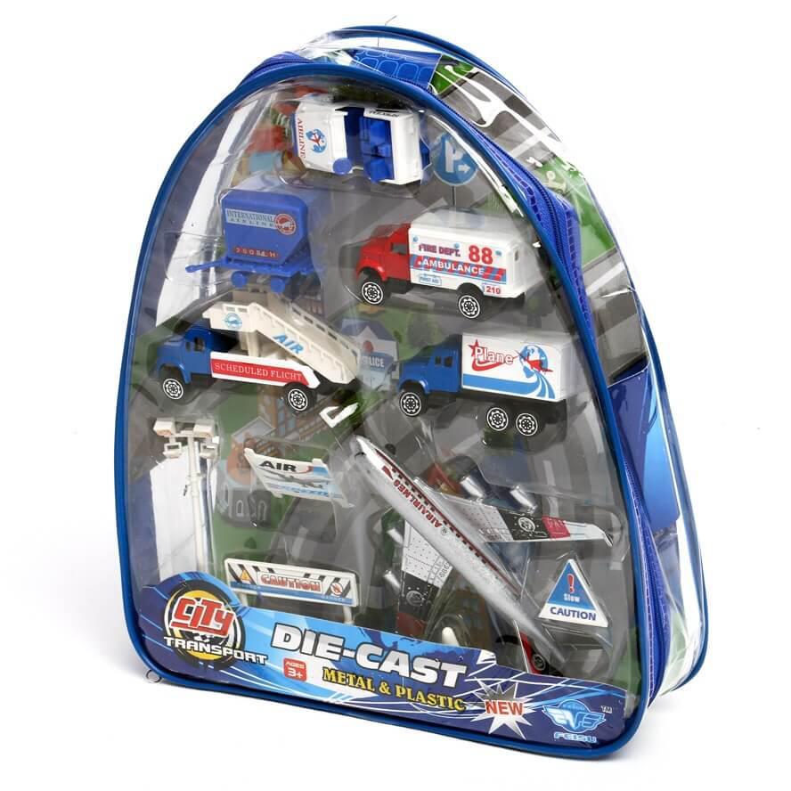 Машинка метал набор транспорта в рюкзаке GP 618