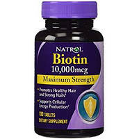 БИОТИН «Максимальная сила», 10000 мкг, 100 таблеток. Сделано в США. Natrol, Biotin, Maximum Strength