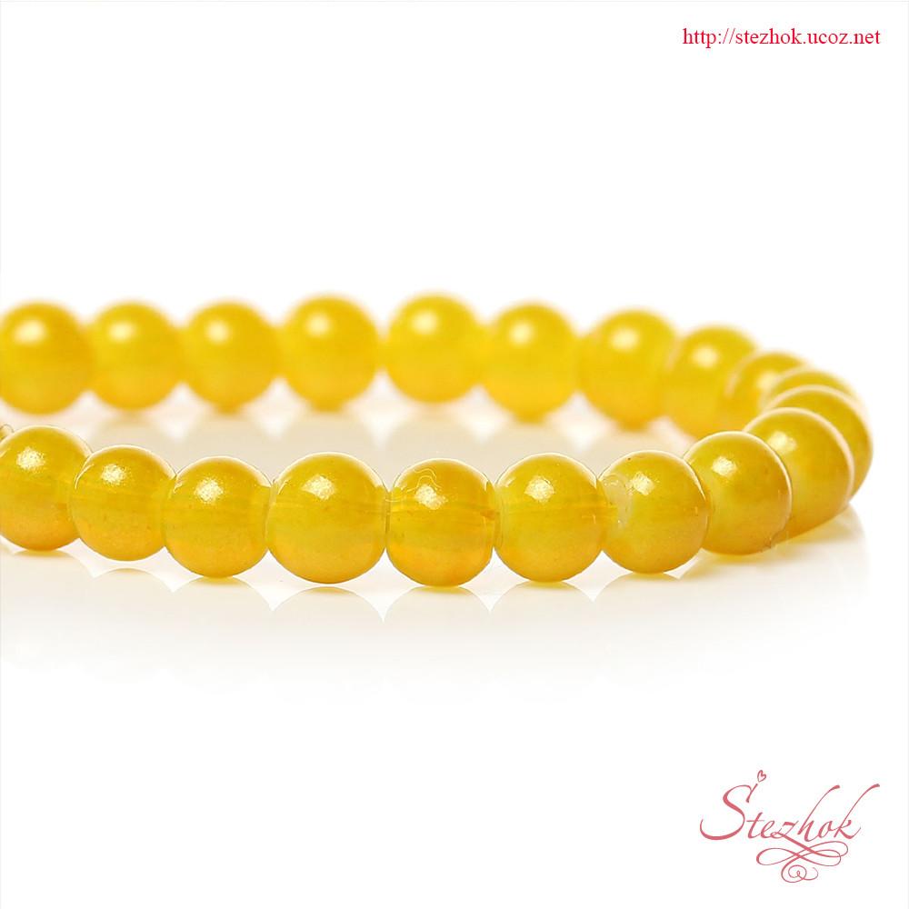 Стеклянная круглая бусина 4мм лаковая гладкая для рукоделия цвет желтый