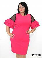 Платье женское, рукава сетка с воланами, батальные размеры, разные цвета.