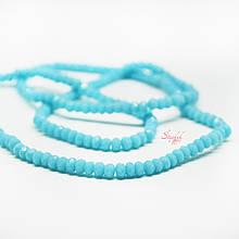 Рондель стеклянная бусина 3х2мм граненая голубого цвета для рукоделия