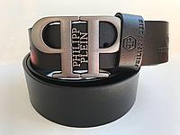 Ремень кожаный под джинсы Philipp Plein. Длина 105-125см. Ширина 3.7см. Цвет чёрный.