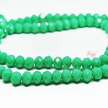 Рондель стеклянная бусина 6х4мм граненая лаковая цвет зеленый