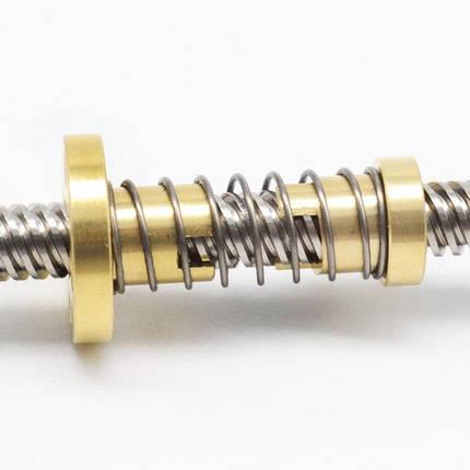 Ходовой винт с трапецеидальной резьбой T8*8 мм х 300 мм и антилюфтовой гайкой, фото 2