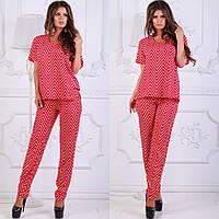 Красный стильный костюм брюки и блуза, фото 1