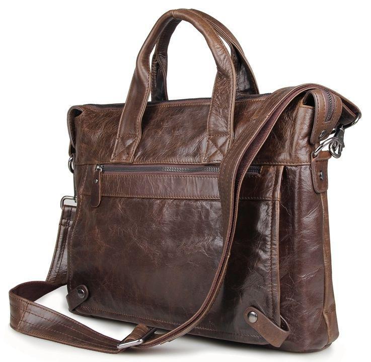 Коричневая горизонтальная мужская сумка из натуральной кожи в цвете с отделом для ноутбука Vintage 14368