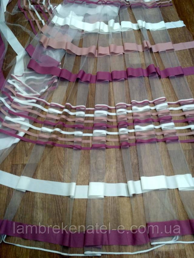 тюль фатин полосы пудра розово сиреневая