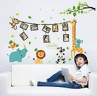 Виниловые наклейки с фоторамки на стену в детскую комнату со зверьми 90см*115см(лист90*60см)