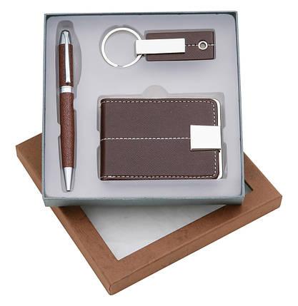 Набор подарочный (авторучка, визитница, брелок) в подарочной коробке, фото 2