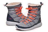 Зимние женские кроссовки NIKE ROSHE RUN HI grey, фото 1