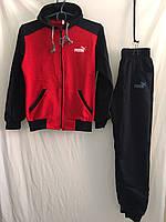 """Спортивный костюм подростковый""""Puma"""" для девочек от 7до 11лет, черный с красным"""