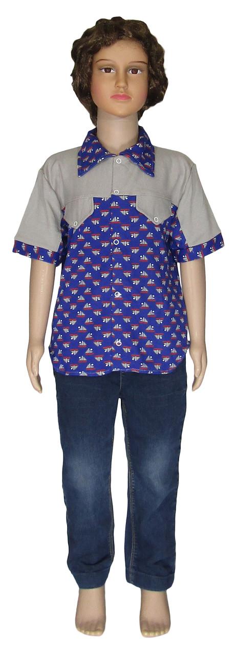 Акция 1+1. Рубашка для мальчика на лето 190 Blue, интерлок, р.р.26,32