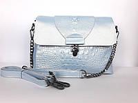 """Женская кожаная сумка """"Blue Cayman"""" голубая"""