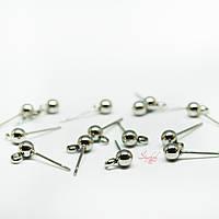 Швензы-гвоздики с шариком и кольцом без заглушки из нержавеющей стали 15х6х4мм платина