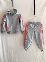 """Спортивний костюм дитячий """"Adidas"""" для дівчаток від 1 до 3 років, сірий з оранжевим"""
