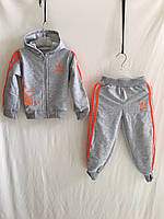 """Спортивный костюм детский """"Adidas"""" для девочек от 1 до 3 лет, серый с оранжевым"""