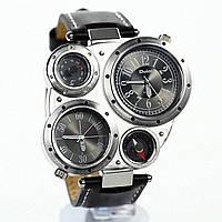 Часы OULM Black с компасом и термометром