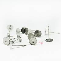 Швензы-гвоздики с основой под кабошон без заглушки из нержавеющей стали платина 12х6мм толщина штифта 0,7мм