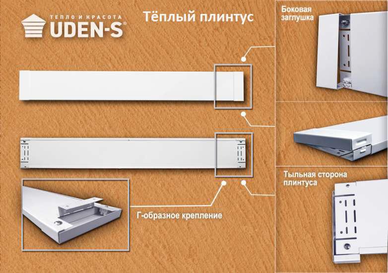Настенный обогреватель теплый плинтус Uden-s 150 вт