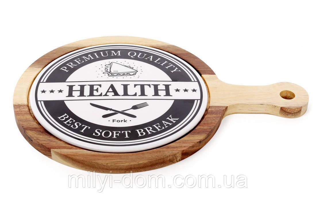"""Доска для сыра с фарфоровой вставкой """"Здоровье"""", 34 см"""