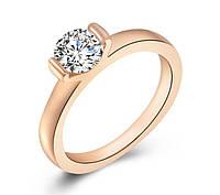 Кольцо бриллиант (имитация) покрытие золотом 18К проба