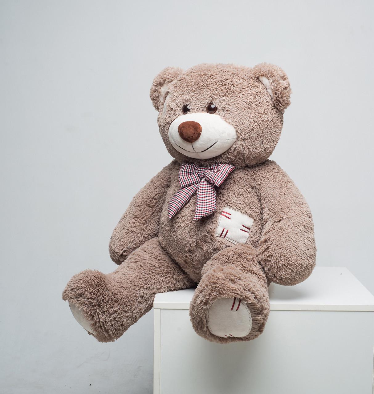 М'який плюшевий ведмедик із латками 100 см