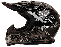 Мотошлем детский FXW HF-116 Черный с серым рисунком , фото 1
