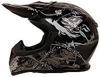Мотошлем детский FXW HF-116 Черный с серым рисунком, фото 1