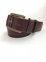 Мужской кожаный ремень Cinturify под джинсы, длина 105-125 см. Коричневый