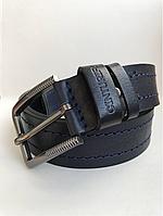 Мужской кожаный ремень Cinturify под джинсы, длина 105-125 см. ширина 3.7 см Черный