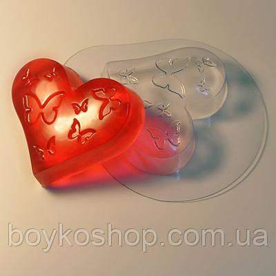 Форма для мыла пластик Сердце с бабочками