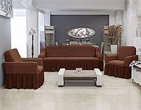 АКЦИЯ!!!Чехол на диван + 2 кресла Premium, коричневый