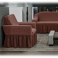 АКЦИЯ!!!Чехол-покрывало на диван + 2 кресла Premium, горячий шоколад