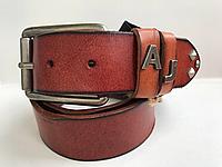 Мужской кожаный ремень Giorgio Armani под джинсы, длина 105-125 см. Ширина 3.7см. Цвет рыжий