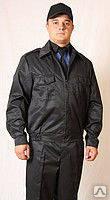 Костюм для охраны черный демисезонный, куртка на молнии и брюки.