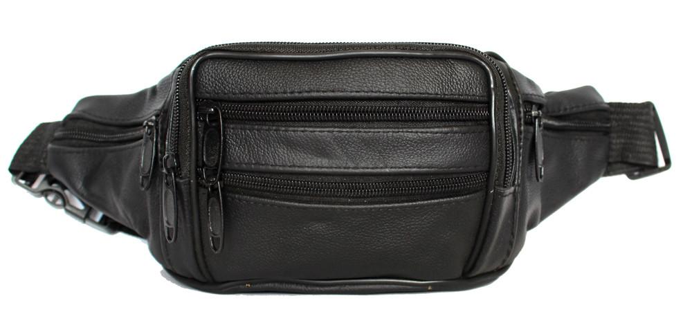 Кожаная мужская сумка - бананка для мужчин черная (2002ч)