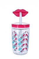 Стакан детский с трубочкой Сontigo Funny Straw 470 мл Розовый (1000-0522)