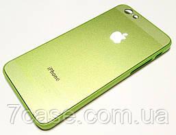 Чехол для iPhone 6 / 6s пластиковый с яблоком зеленый металлик