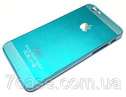 Чехол для iPhone 6 / 6s пластиковый с яблоком голубой металлик