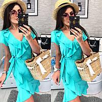 Платье на запах, модель 115, цвет Бирюзовый, фото 1