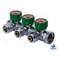 Коллектор вентильный с фитингом KOER KR.1121-3 3/4 x3 WAYS