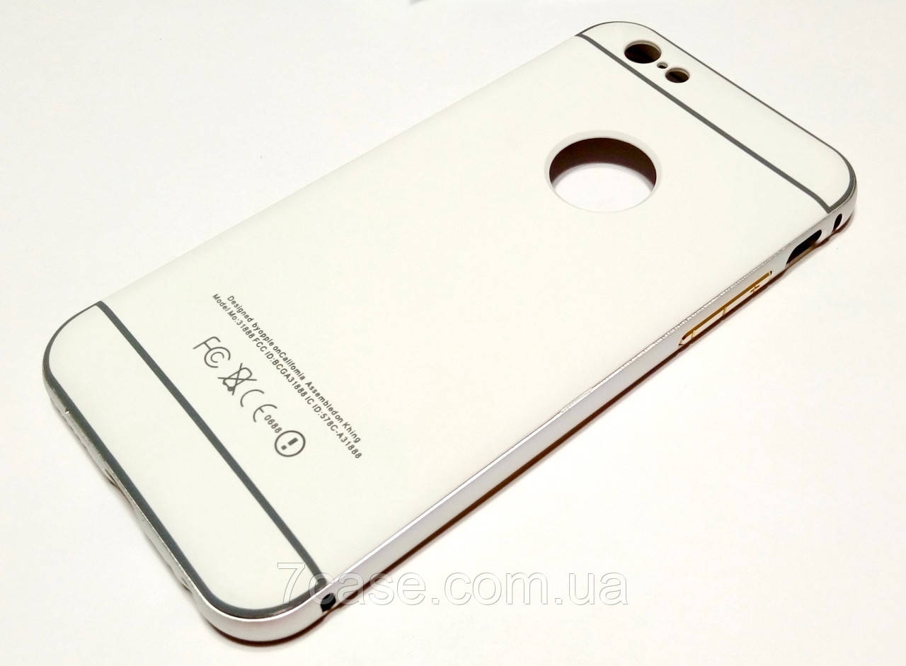 Чехол для iPhone 6 / 6s алюминиевый бампер с пластиковой задней крышкой матовый белый