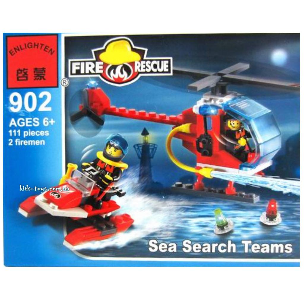 Конструктор Enlighten Пожарный вертолёт и водный скутер 111 дет. (902)