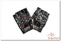 Перчатки спортивные без пальцев кожа