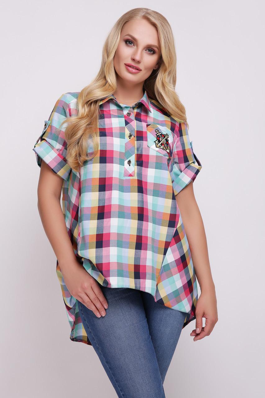 Рубашка в клетку для полных женщин Ангелина 50 - DS Moda - женская одежда  оптом от e1e87a0a3c409