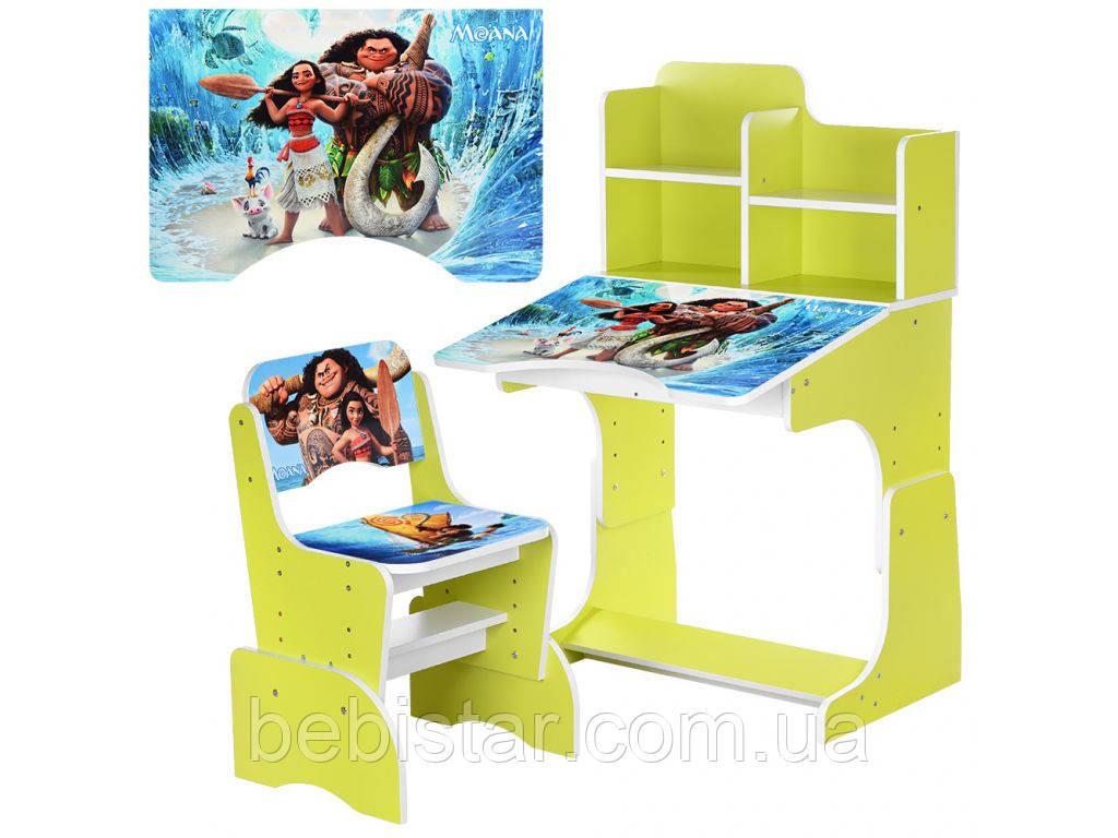 Детская парта со стульчиком (Моана) салатовая столешница 70 х 47 см